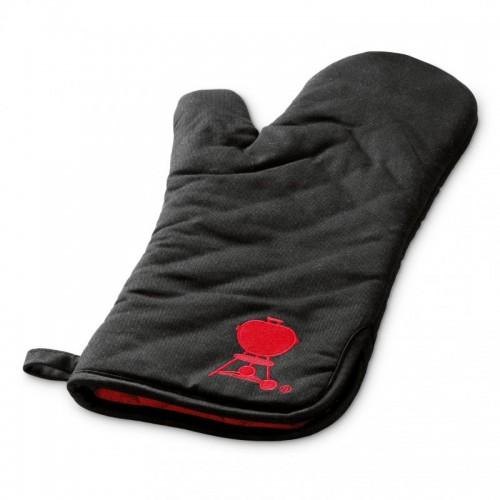 Grilovací rukavice, černá s červeným kotlem